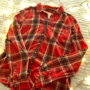 Red Hollister flannel button down shirt